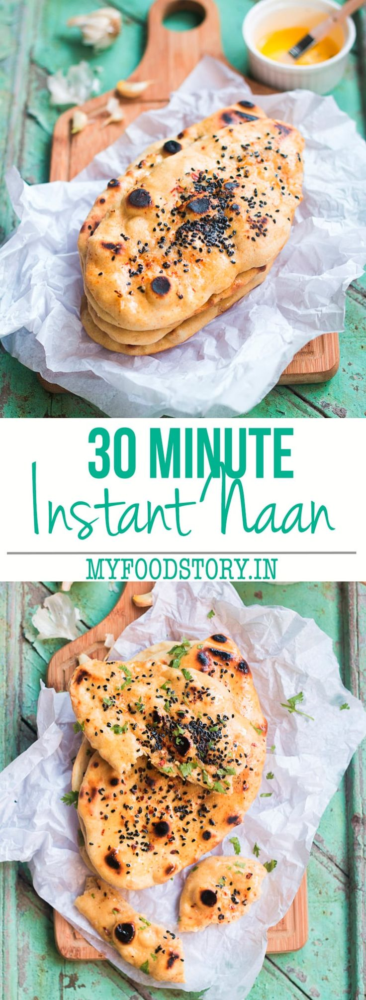 Instant Naan bread recipe which take only 30 minutes from start to finish and can be made on a skillet. No yeast, no eggs, no oven or tandoor.