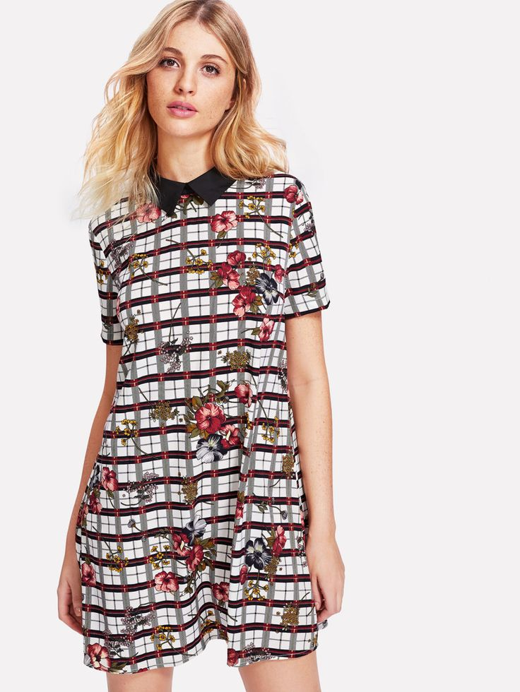 Shop Contrast Collar Mixed Print Dress online. SheIn offers Contrast Collar Mixed Print Dress & more to fit your fashionable needs.