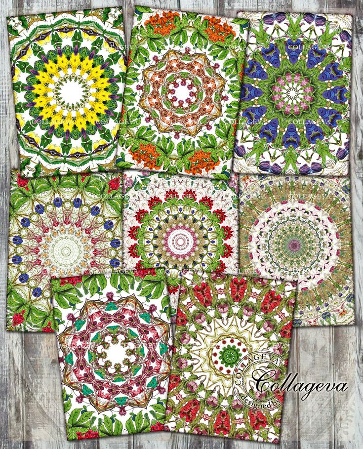 Summer Garden Mandala Digital ACEO Tag, ATC Cards Label Leafe Flower Kaleidoscope Background Red Blue Yellow Green Printable Paper (T021-a) by collageva on Etsy