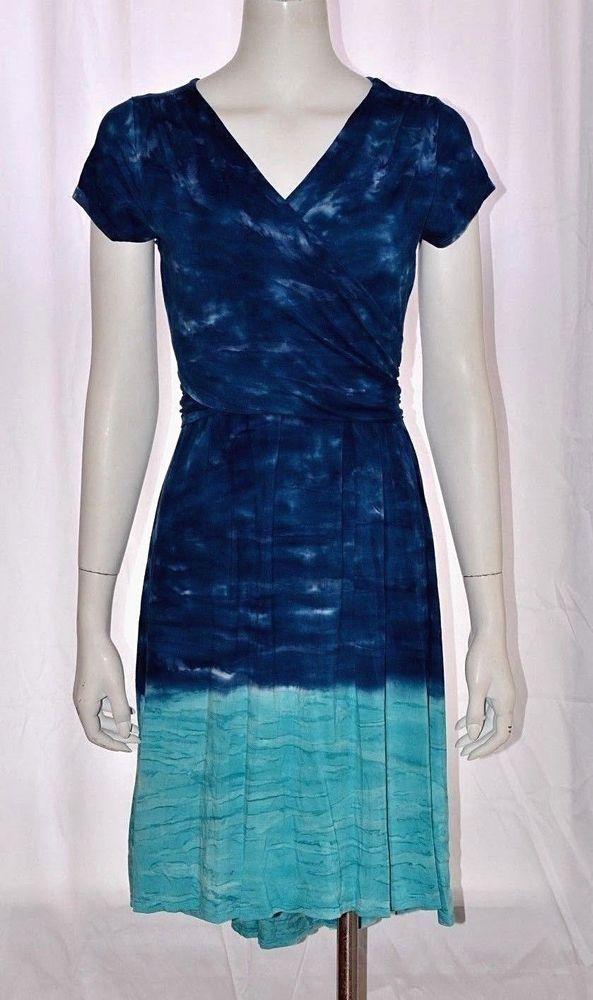 8f71033c570 ATHLETA Casual Summer Dress Peacock Blue Medium M Sweet Water Tie Dye Faux  Wrap #Athleta #ALineDress #Casualcareer