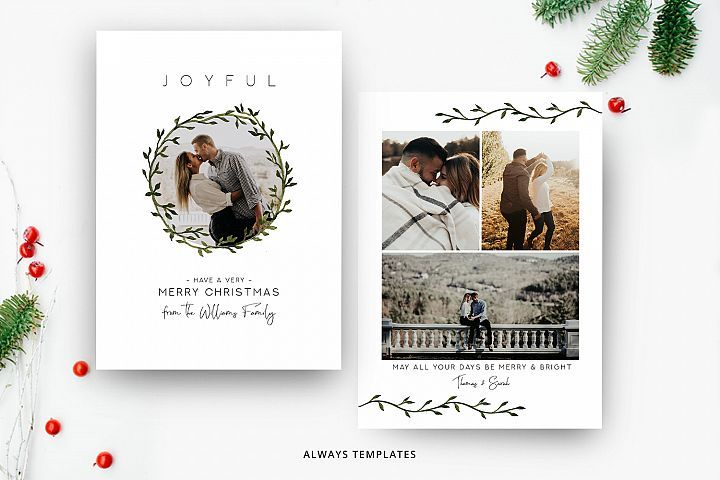 Christmas Card Template Cc061 359594 Card And Invites Design Bundles Christmas Card Template Holiday Card Template Christmas Photo Card Template