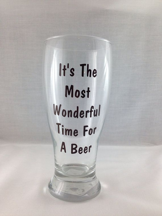 Christmas wine glasses, READY TO SHIP It's The Most Wonderful Time For A beer  Fun Christmas Wine Glass for men, husband, coworker, stocking