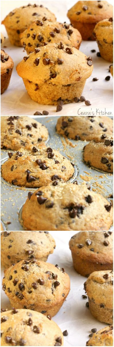 These Healthy Chocolate Chip Muffins are just like the muffins you get at the bakery. healthy breakfast recipe.
