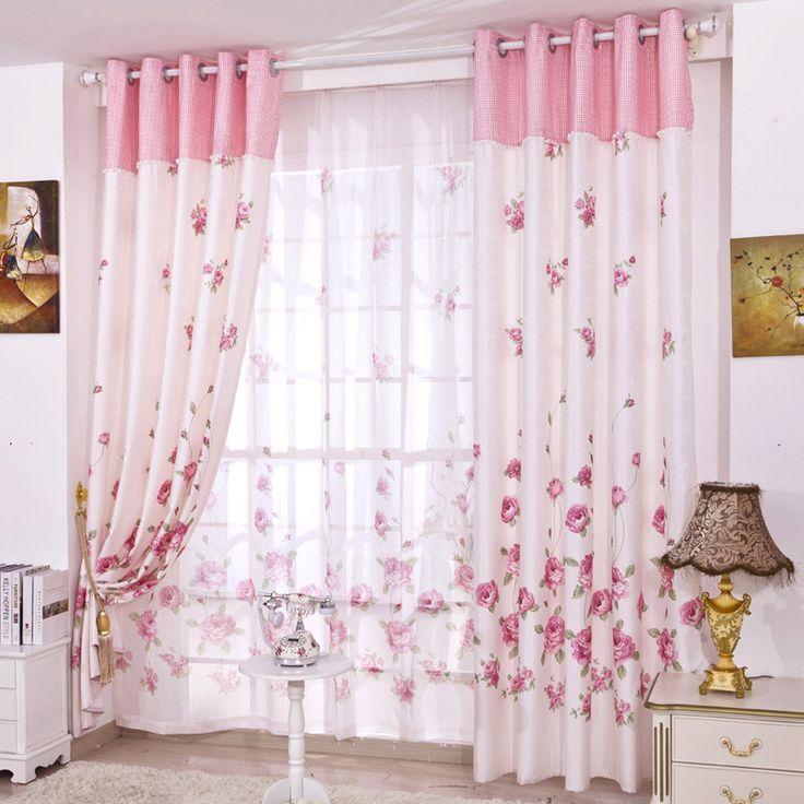 Краткое свежий деревенский спальня окно шторы ткань готовая продукция розовые цветы занавес тюль комплект