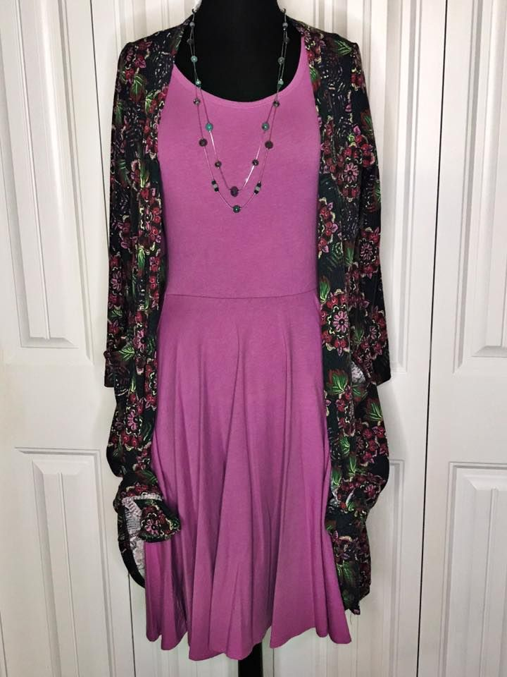 Beautiful purple! Gorgeous ribbed purple floral Sarah and the prettiest soft purple Nicole dress put together for a super comfortable LuLaRoe outfit! Both pieces are a medium. To see more LuLaRoe outfits visit me here: Www.facebook.com/groups/lularoeassortedstock #Sarah #Nicole #LuLaRoe #Dress