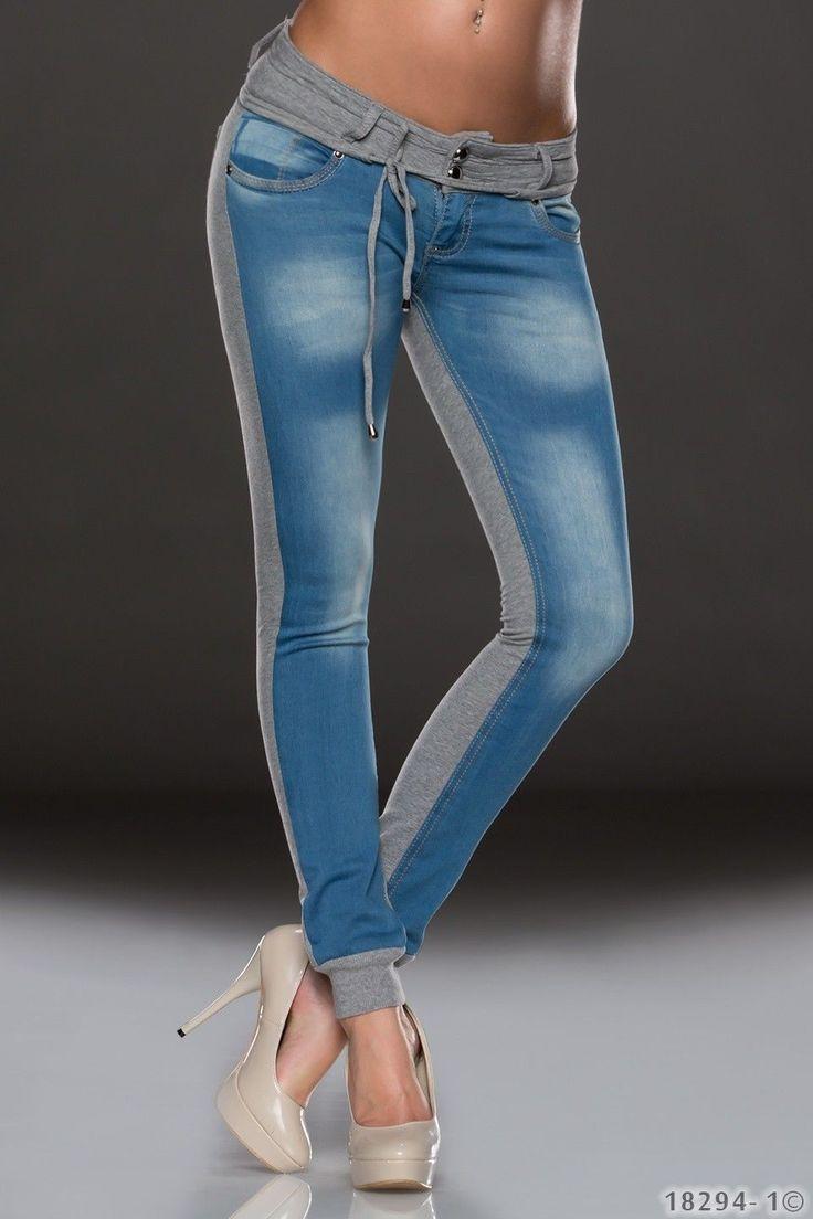 Sehr lässige Hose für Damen in einer Jogging-Jeans Kombination. Integrierte Bündchen erzeugen bei der Jogg-Jeans einen sportiven Look mit dem gewissen Etwas. #joggjeans #jogging #pants