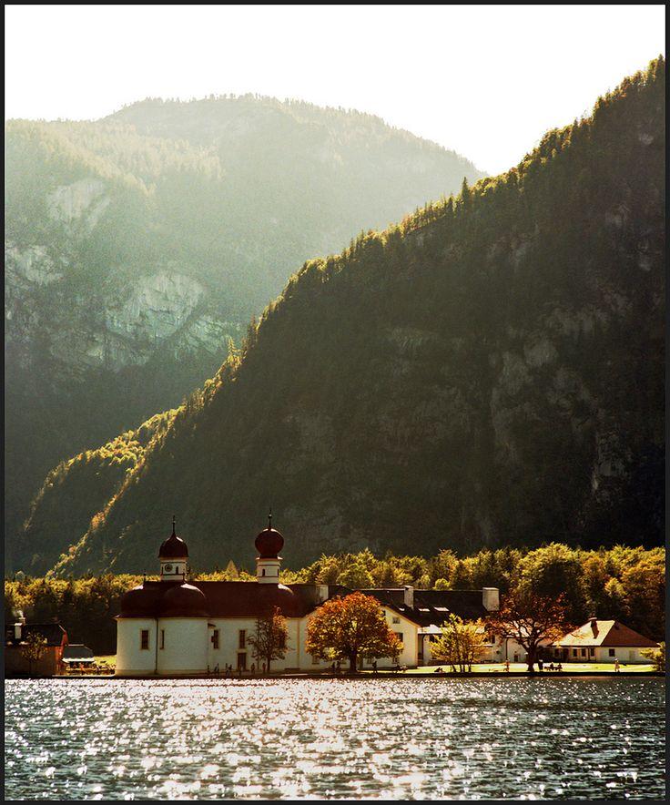 St. Bartholomew's Church on Lake Königssee in Bavaria, Autumn Light in Germany, Photo by Katarina Stefanović - Herbst in Deutschland
