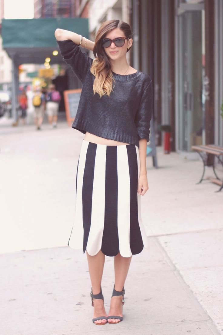 striped scalloped skirt