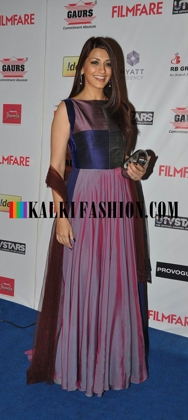 http://www.kalkifashion.com/ Sonali Bendre picks a burgundy anarkali suit to attend the  Filmfare Awards Nomination Party 2014