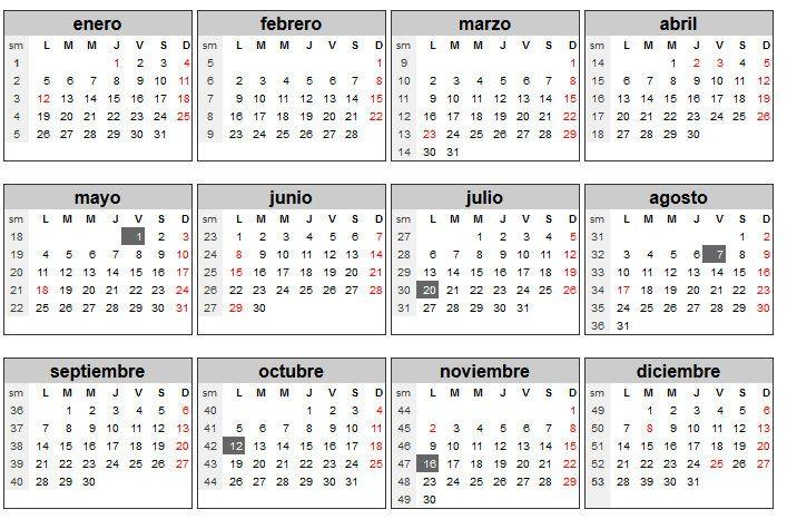 Calendario 2015 en español para imprimir con festivos semana santa - Nocturnar