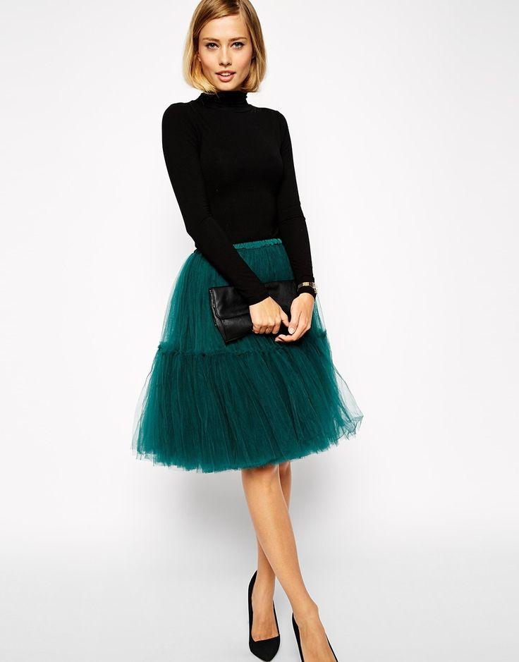 Image 1 ofASOS Full Midi Tulle Skirt