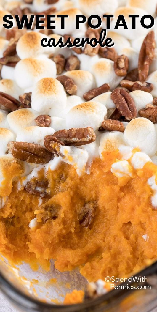 This easy Sweet Potato Casserole with marshmallows and pecans is a traditional side at our family Thanksgiving table.