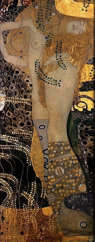 "Gustav Klimt ~ ""Wasserschlangen"" marking the climax of his Golden Phase with gold leafing, of water beings in a transcendental state, 1904."