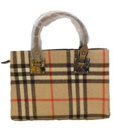 Buy Classy Chequered Flannel Handbag (Gold) handbag online