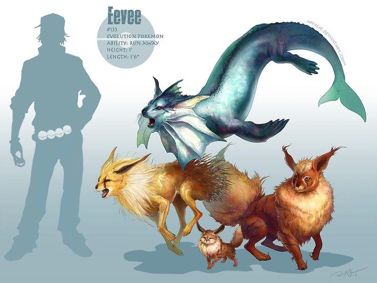 Realistic Pokemon: Evoli,Aquana,Blitza und Flamara Eevee,Vaporeon,Jolteon and Flareon