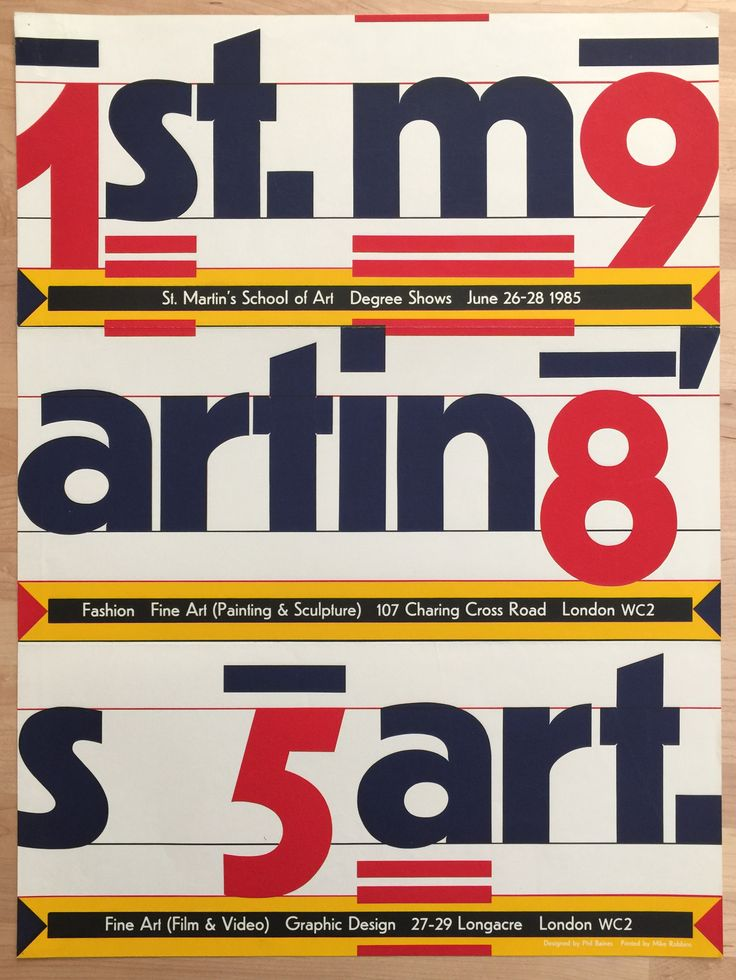 St. Martin's School of Art 1985 Degree Shows poster - Fonts In Use