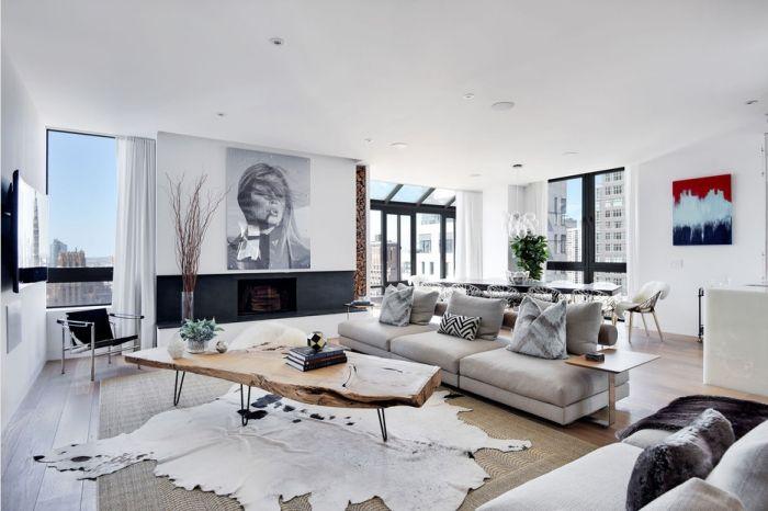 wohnzimmer ideen, graues sofa, großes bild über der kamin, teppich ...