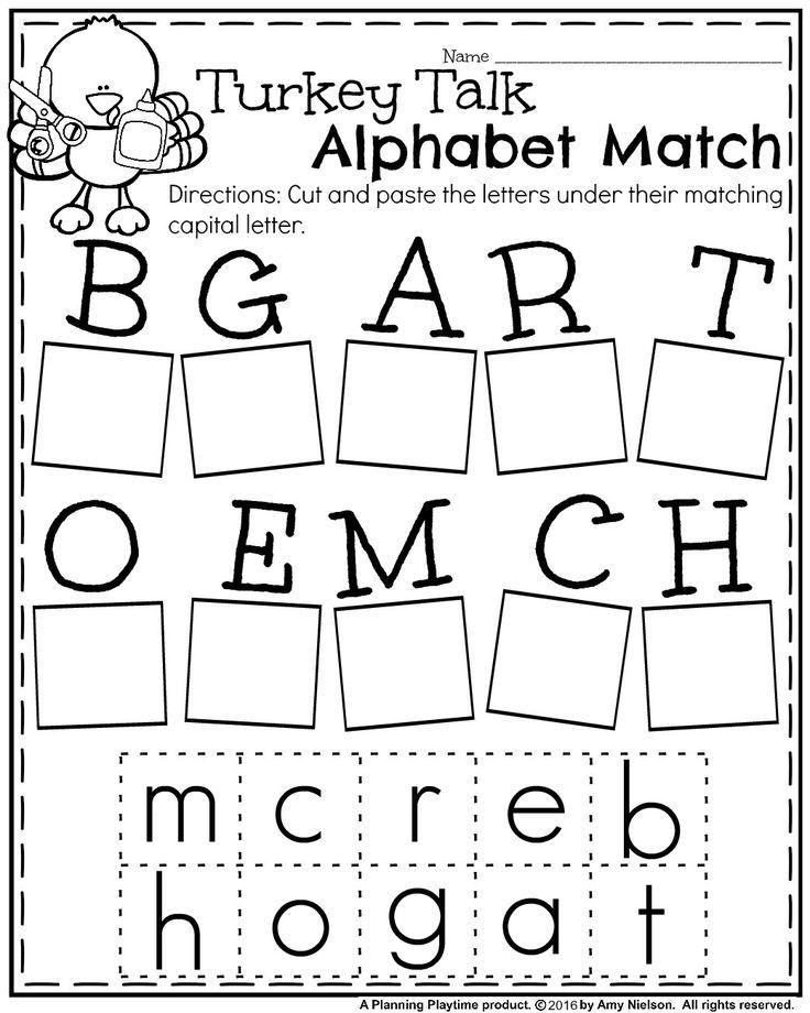 FREE Fall Kindergarten Worksheet for November - Turkey Alphabet Match.