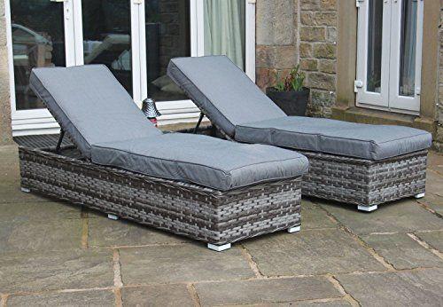 Luxury Grey Rattan 3 Piece Sun Lounger Set Outdoor Garden Furniture
