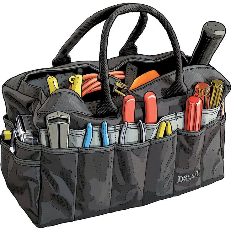 Based on the Rigger's Bag, something sailors have been carrying around for centuries. This 100% polyester tool bag from Duluth Trading Company is double-layered on the bottom for strength.