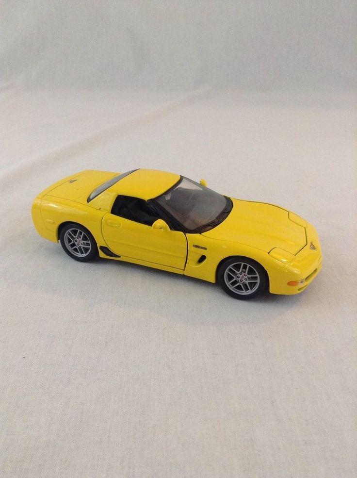 Maisto 2002 Yellow Corvette 1:24 Scale Diecast Plastic Display Car Drive Enjoy #Maisto