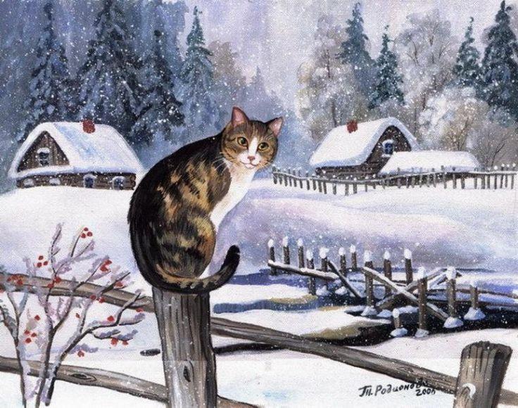 Туган, как котенок зиме удивился картинки для детей