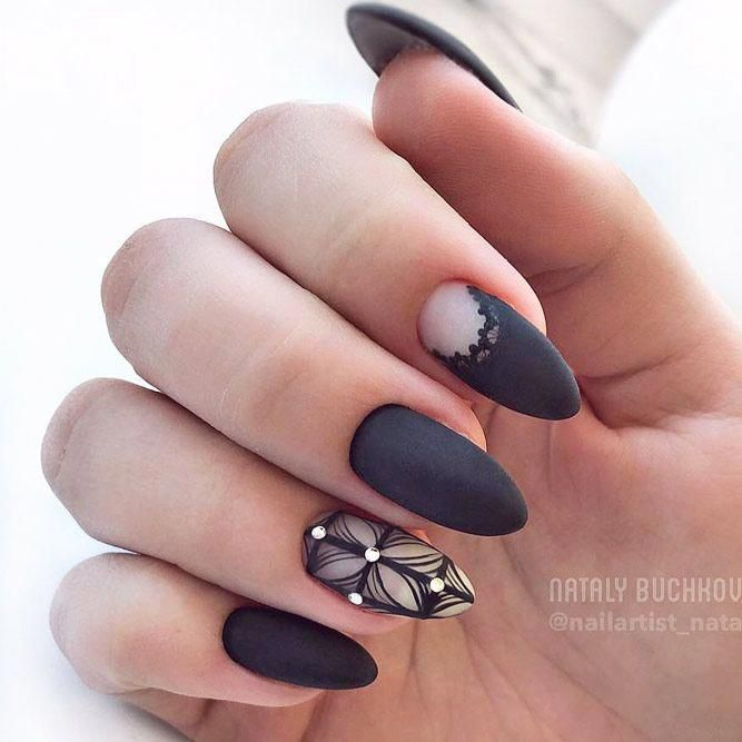 Black matte nail design for almond shape. Do you like the