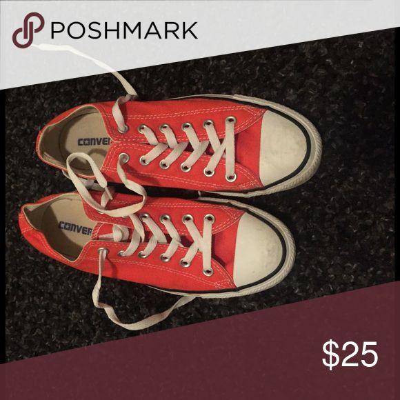 Orange converse White and orange converse worn twice Converse Shoes Sneakers