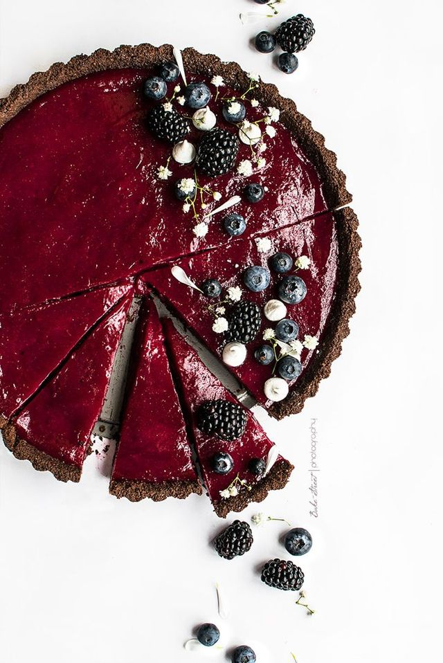 chocolate blueberry lime tart ❥