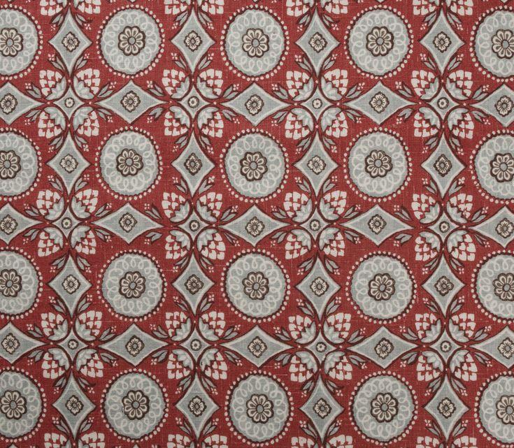 Figaro 6216 -Fraise : linen print. Marvic Textiles