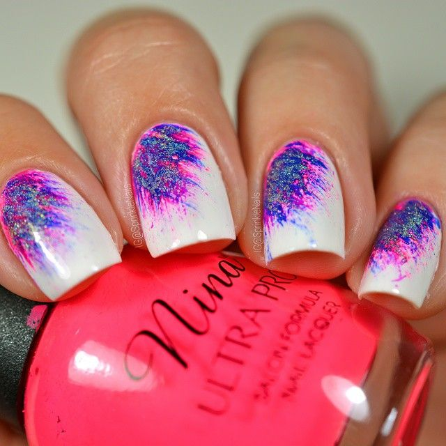 "6,344 Likes, 55 Comments - Izzy (@sprinklenails) on Instagram: ""Bright fan brush nails! 💅 - Tutorial already posted!🎥 Happy day everyone! 😘 💖💜💙💖💜💙"""