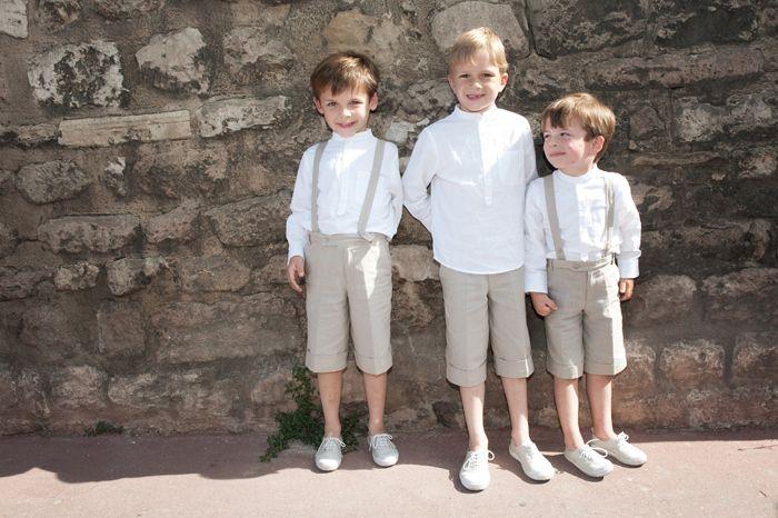 mariage garçon d'honneur cortège enfant beige bermuda lin blanc