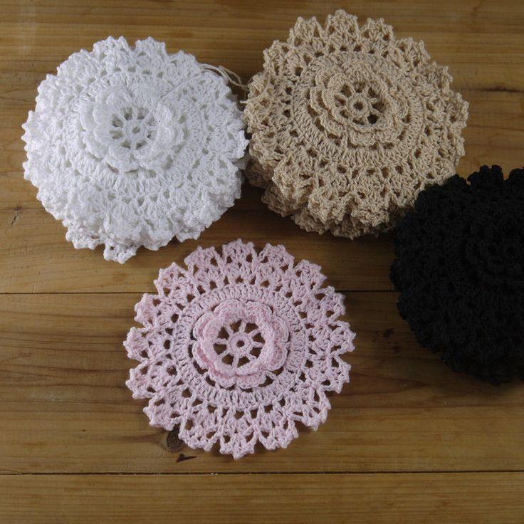 Crocheted Doilies Rose 3D applique Round Coasters 4.8''/12cm Mat Pad 20PCS #Handmade