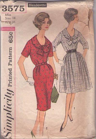 MOMSPatterns Vintage Sewing Patterns - Simplicity 3575 Vintage 60's Sewing Pattern DANDY Scoop Neck Tie Collar Mad Men Day Dress, Slim Sheat...