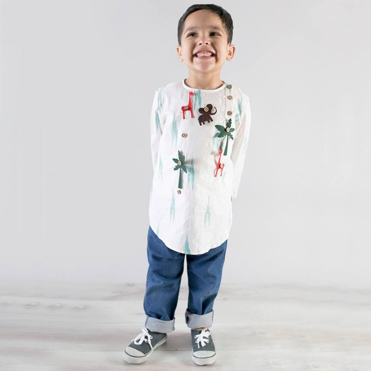 Smart hand-loom shirts/Dresses with a fun game for the little one while they dresses up. Go Pinning! #funclothesforkids #buyonline #offer #Curiousvillage #Ludhiana #Delhi