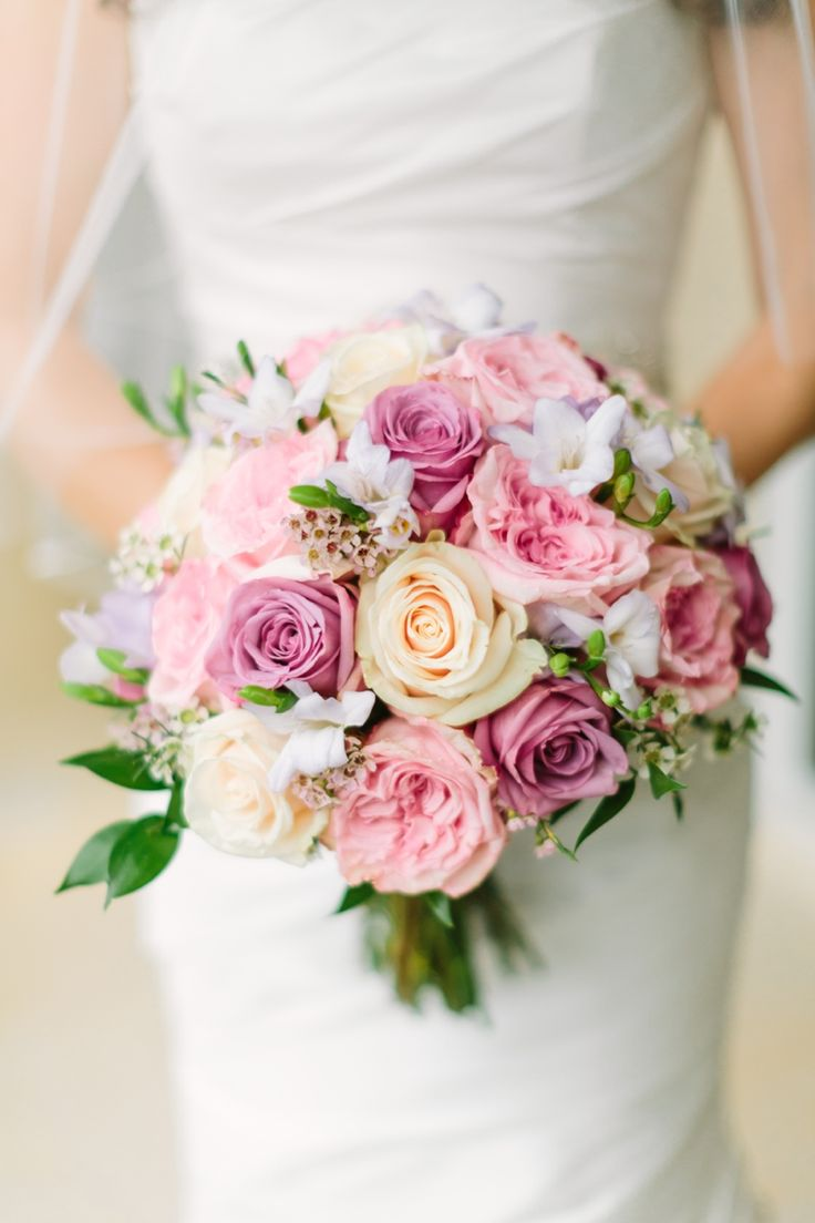Blush, lavender and pale yellow bouquet // see more: http://theeverylastdetail.com/romantic-lavender-and-yellow-wedding/ // Photographer: Bob Care Photography / Wedding Planner/Coordinator: Destination Wedding Studio / Flowers & Decor: Floral Fantasy