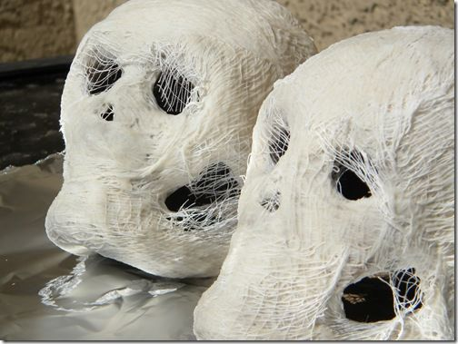 Great idea for craft skulls. Just wrap it with cheesecloth, and you got a Mummy Skull! Easy, quick & cheap!