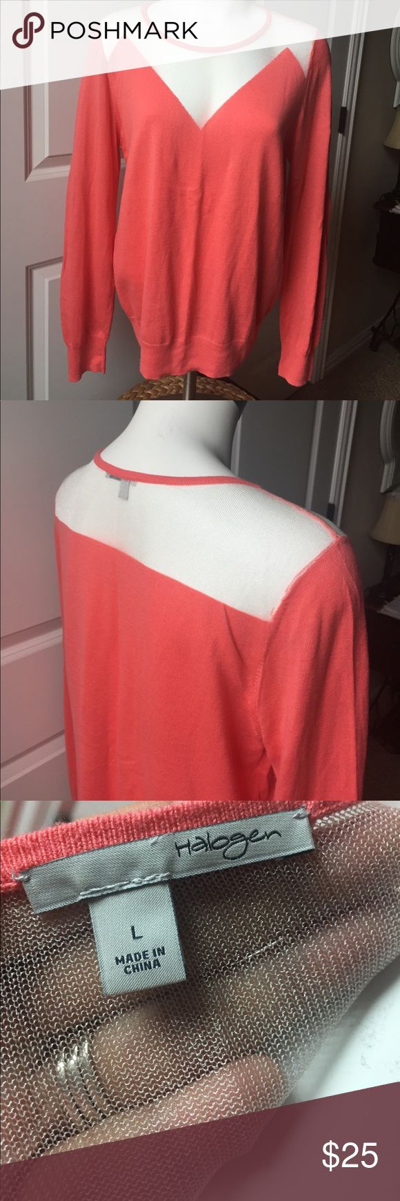 NWOT Nordstrom sweater Perfect for the holidays!  Flummery sheer section in a gorgeous coral color Halogen Sweaters