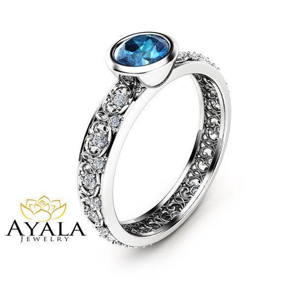 London Blue Topaz Engagement Ring 14K White Gold by AyalaDiamonds