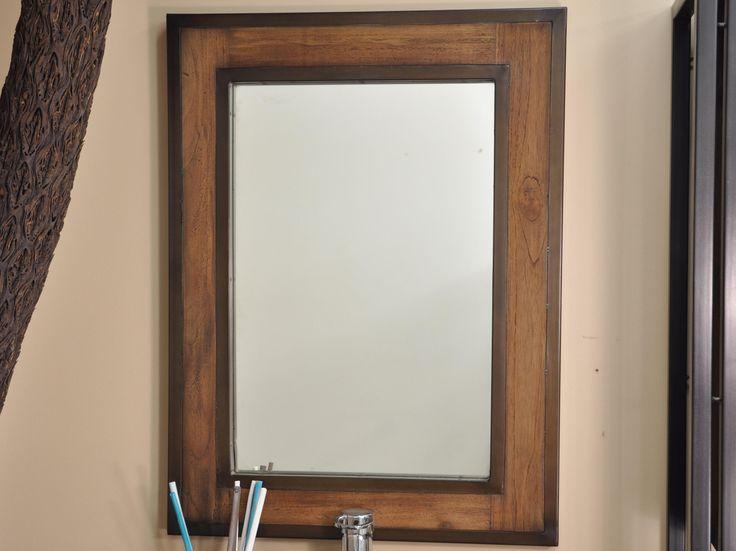 Miroir vertical en teck massif avec un double entourage métal Dimension miroir : 60cm x h80cm