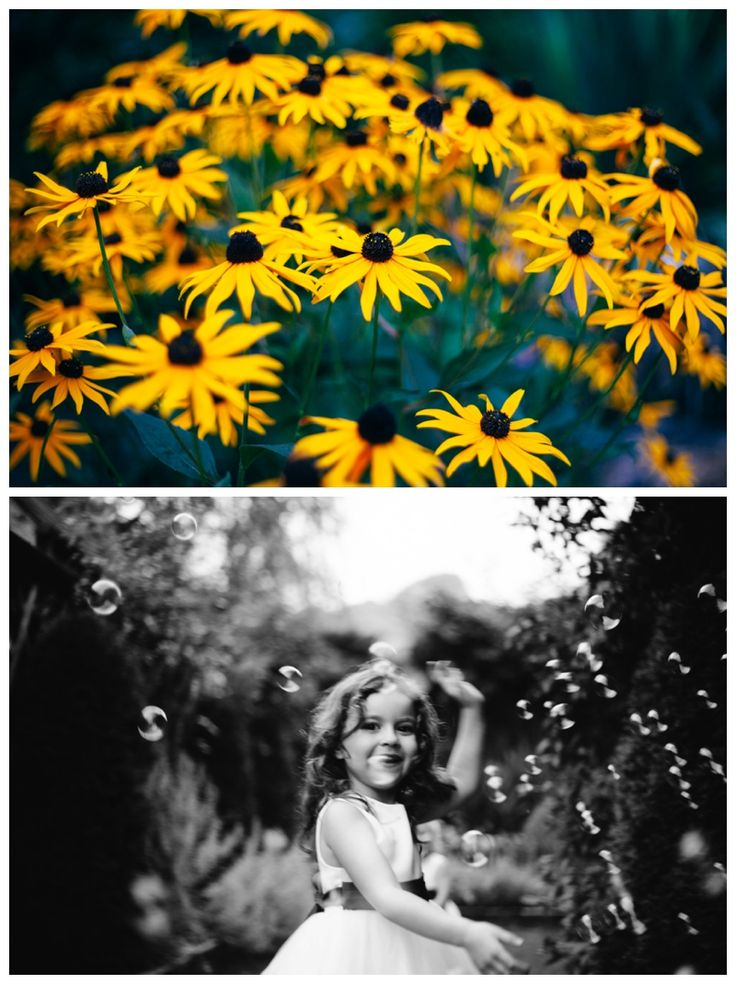 Yellow flowers and girl dancing in bubbles