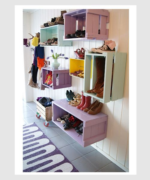 What a wonderful DIY organizing idea for a kids room.  Just change the colors of paint to make it gender specific.