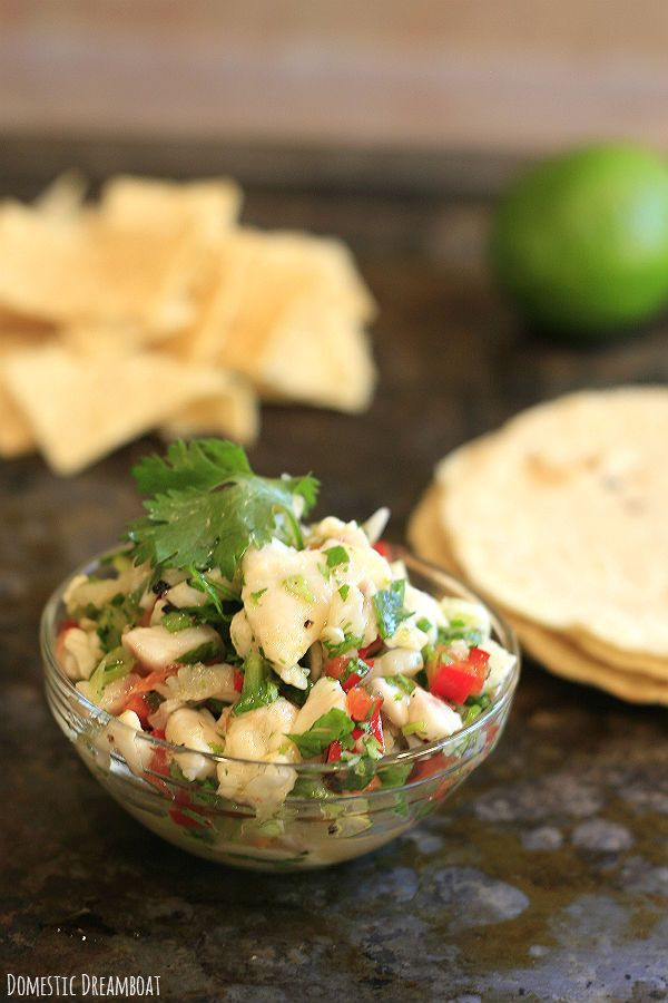 This fresh ceviche is made from a mixture of tilapia, scallops and shrimp. It doesn't need to be cooked, making it the perfect hot weather meal!