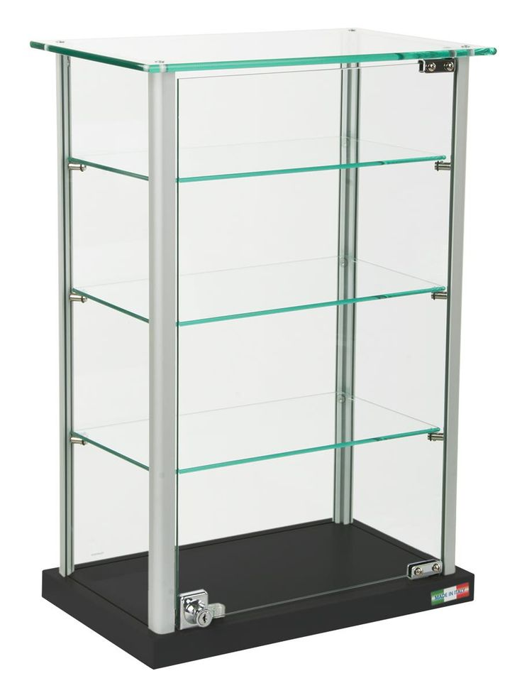 countertop display case w glass canopy top 3 shelves black