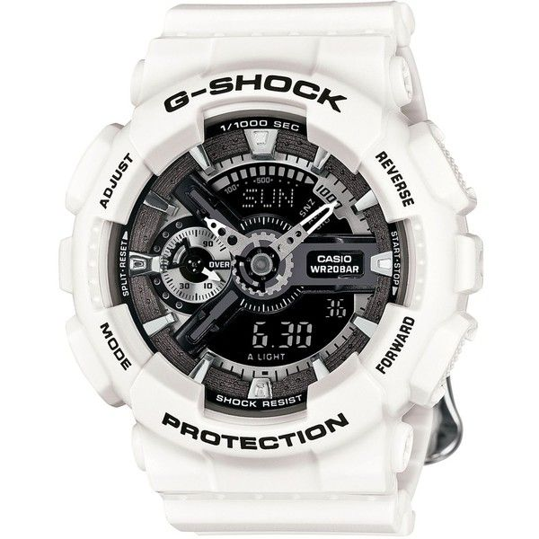 G-Shock Women's Analog-Digital Floral White Resin Strap Watch 49x46mm... ($140) ❤ liked on Polyvore