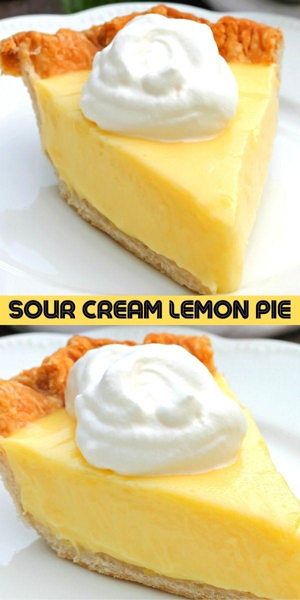 Sour Cream Lemon Pie In 2020 Lemon Sour Cream Pie Lemon Dessert Recipes Lemon Desserts