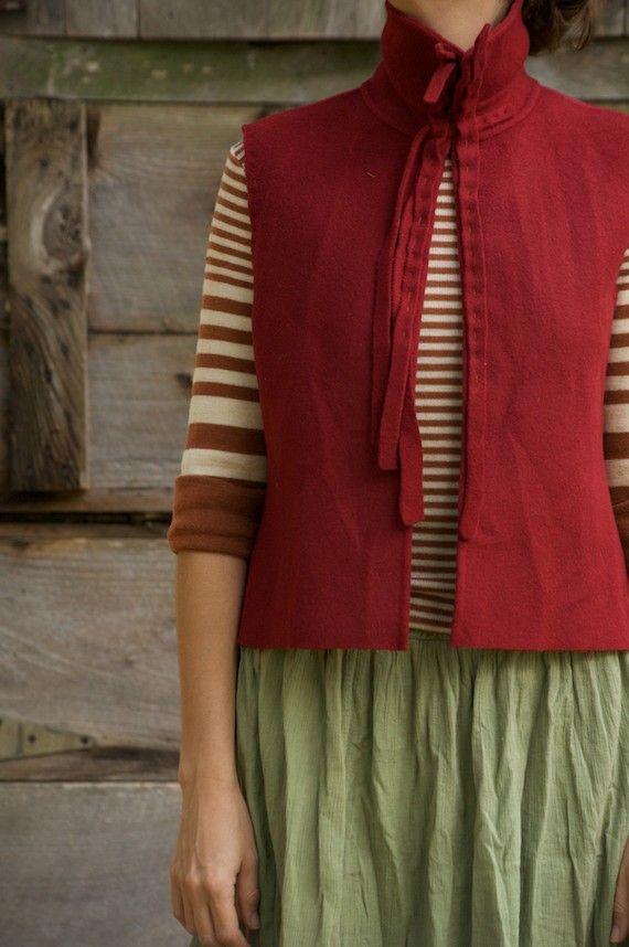 hand stitched reused coat vest...