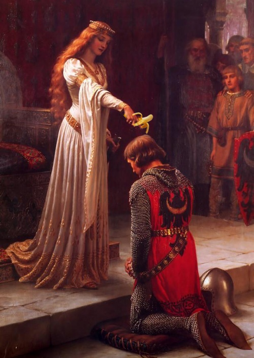 """""""Whoever so pulleth out the banana out this stone is right-wise King born of all England.""""Blairleighton, Blair Leighton, Knights, Pre Raphaelite, Edmund Blair, King Arthur, Middle Age, Painting, Accolade"""