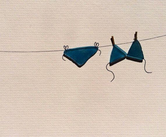 Blue bikini on the line sea glass art by sharon by PebbleArt, $120.00