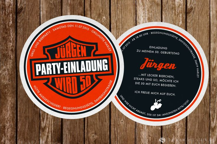 """Die """"Harley"""" Bierdeckel Einladung: Echter Bierdeckel als Einladungskarte. Design: Harley Davidson • www.vollstark.de"""